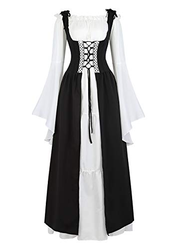 Famajia Womens Renaissance Costume Medieval Irish Over Dress and Trumpet Sleeves Chemise Boho Set Black 2X-Large