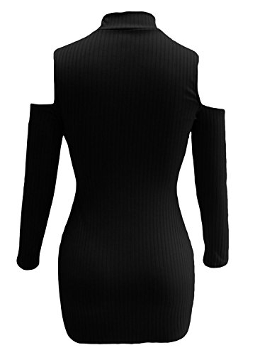 Señoras negro recorte Cold Shoulder acanalado cuello alto vestido Club Wear fiesta Casual talla M UK 10 –�?2 EU 38 –�?0