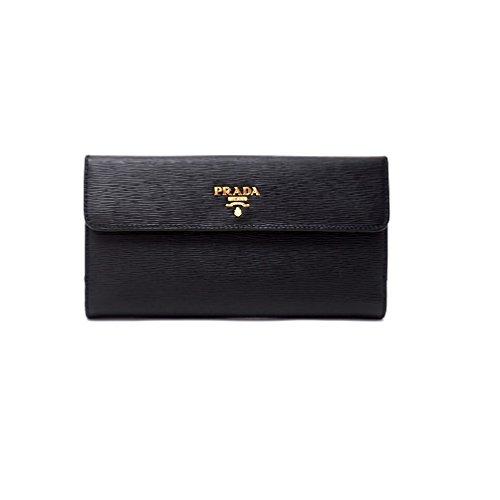 Prada Womens 1MH133 2EZZ Vitello Move Leather Wallet Nero (Black)