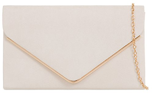 Envelope Frame Clutch Bag Metallic Plain Ladies Design marfil Faux H Suede amp;G Nude Uf8qY
