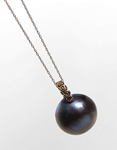 14K solid gold chain with HUGE 16mm blue round Mabe pearl