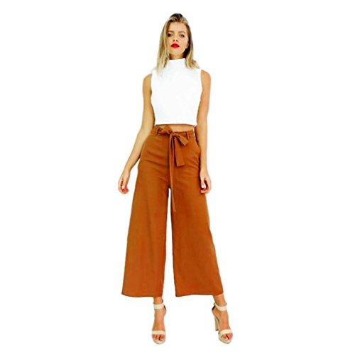 HARRYSTORE 2017 Las mujeres de verano de moda pierna ancha de alta cintura Palazzo Casual pantalones largos pantalones sueltos Caqui