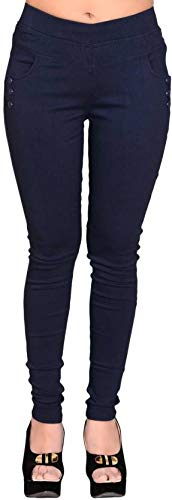 da8af03d69d MUKHAKSH Women Girls Ladies Hot Skin fit Stylish Latest Stretchable (Solid)  Navy Blue Jeggings Lower Trouser for Casual   Office wear (Free Size 32 to  42 ...