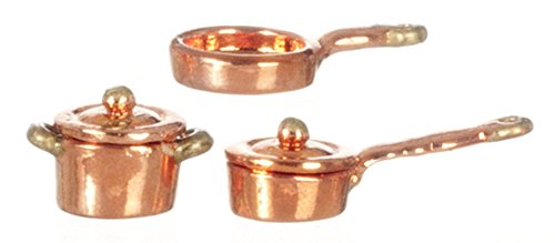(Dollhouse Miniature Copper Casserole Pot Set 1:24 Scale)