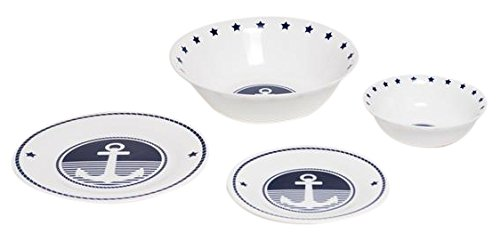 Galleyware Anchor 13-Piece Tempered Glass Dinnerware Set For Sale