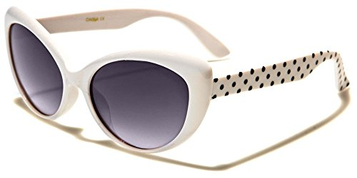 Girls Fashion Couture Cateye Colorful Sunglasses with Polka Dot Arms (White, - K Sunglasses White