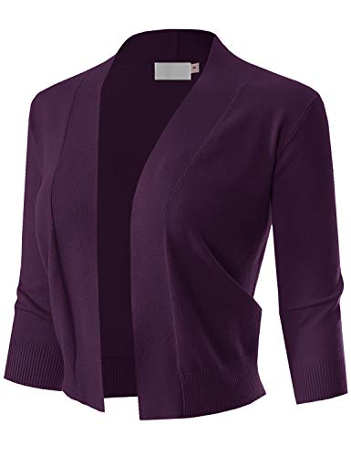 MAYSIX APPAREL 3/4 Sleeve Solid Open Bolero Cropped Cardigan For Women DARKPURPLE L