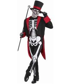 Men's Mr. Bone Jangles Costume, Black/White, One