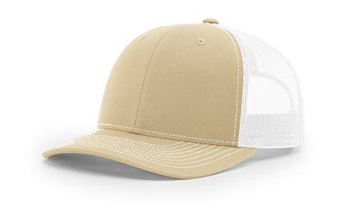 Richardson 112 Mesh Back Trucker Cap Snapback Hat, Khaki/White