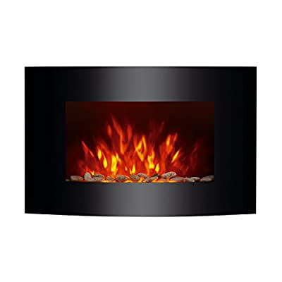 "HomCom 36"" 1500W Wall Mounted Electric Fireplace w/Remote - Black"