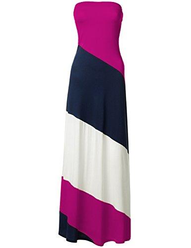 Striped Strapless Diagonal Color Block Maxi Dresses