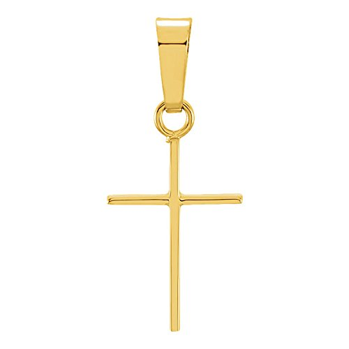 LooptyHoops 14K Gold Thin Simple Cross Charm Pendant (12, Yellow-Gold) - Classic Plain Small Cross Pendant