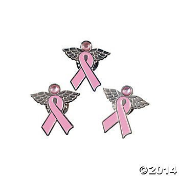 - Fun Express 36 Metal Pink Ribbon Angel Pins~Breast Cancer Event/Fundraiser