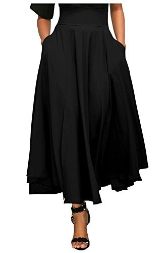 Kumer Women's High Waist Long Skirt Pleated A Line Swing Skirt Front Slit Belted Maxi Skirt, Black, Large (Skirt Full Belt)