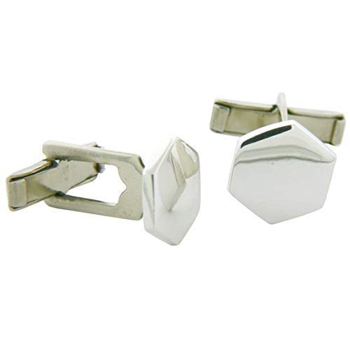 Sterling Silver Hexagon-shaped Engravable Cufflinks