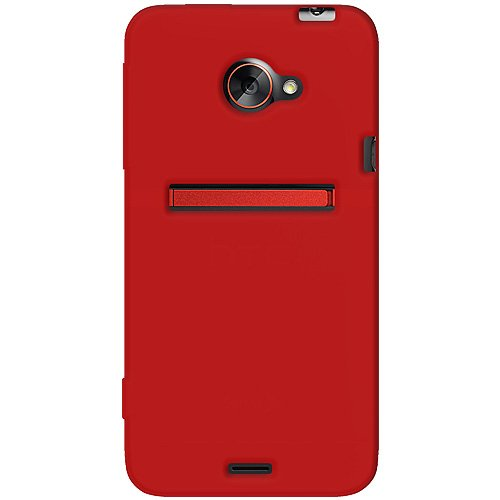 one Jelly Skin Fit Phone Case Cover for HTC EVO 4G LTE and Sprint HTC EVO 4G LTE - 1 Pack - Retail Packaging - Red ()