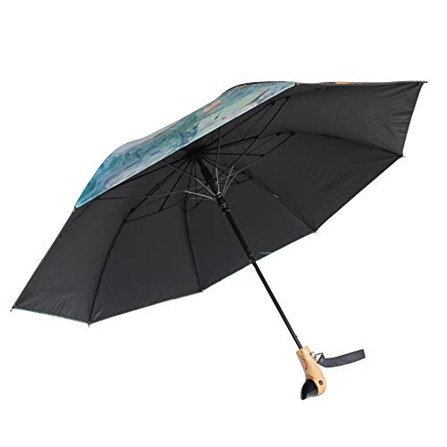 Duck Umbrella - Light Year Duck Handle Design Umbrella Retractable Collapsible Travel Portable Graphic Art Protection Against Sun Wind Water UV Repellant Resistant 8 Rib - 37