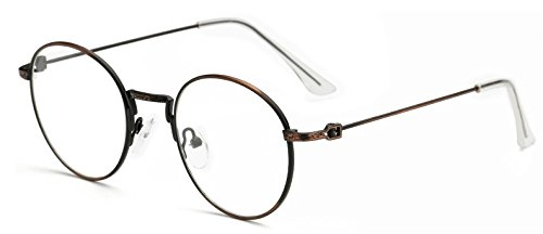 GigaMax TM Round Eyeglasses With Clear Lens Unisex Glasses Frame Retro Vintage Metal Eye Glass Frame For Women Men's Goggles oculos de grau[ Bronze ] (Grau Und Bronze)