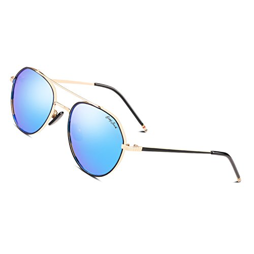 GREY JACK Polarized Sunglasses Large Street Fashion Mirrored Lens Metal Gold Frame Blue - Dimensions Wayfarer New