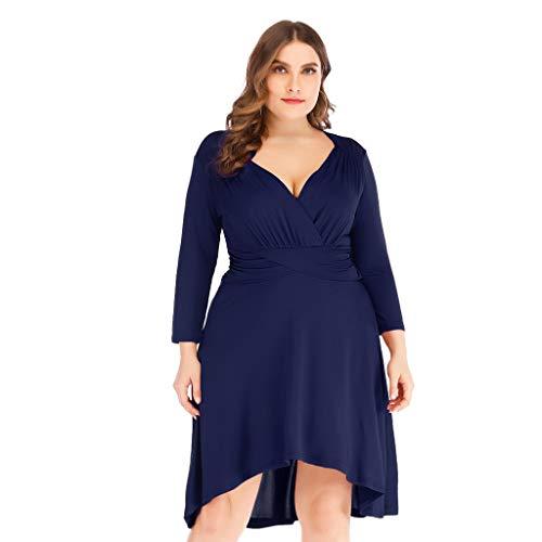 (Zlolia Women's Plus Size Ruffled Mini Dresses Long Sleeved Deep V Solid Color High Waist Dress Summer Fashion Skirt)