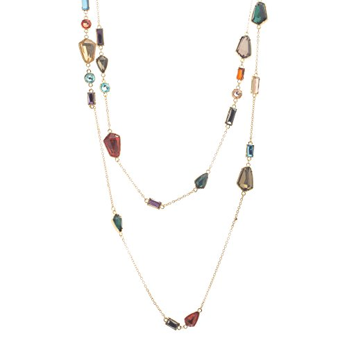 Catherine Malandrino Women's 60'' Multi-Colored Station Layered Wrapping Rolo Chain Yellow Gold-Tone Necklace (Multi) by Catherine Malandrino