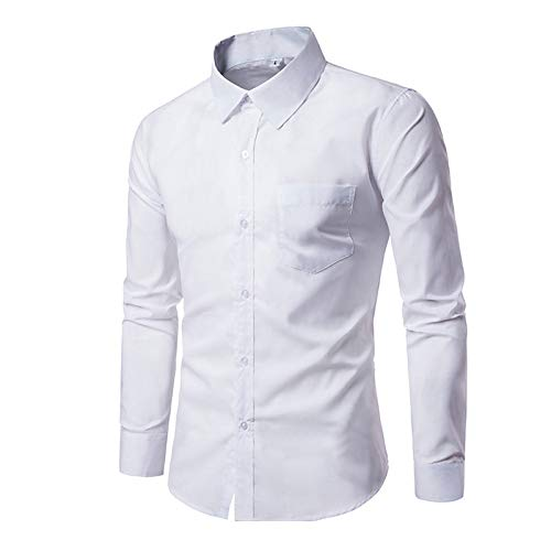 White XXL Men's Basic Slim Shirt  Solid colord