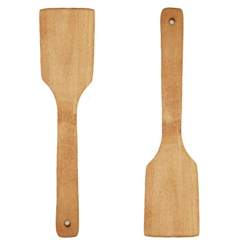 COMOK 2Pcs Burnished Bamboo Stir Fry Turner Spatula and Cooking Utensil for Nonstick Cookware - Healthy and Natural Wooden Tuener Spatula, 292mm/11.5inch Long