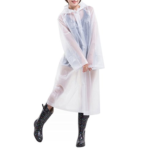 Caszel Portable Reusable Raincoat Rain Poncho with Hoods Sleeves for Adutls White