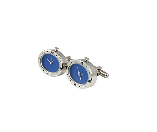 Onyx Art London Oval Blue Dial Engraved Chrome Working Watch Mens Cufflinks - Engraved Onyx Cufflinks