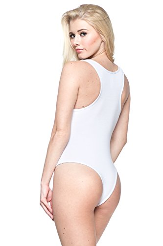 J2 LOVE Made in USA Jersey Racerback Tank Thong Bodysuit (up to 5X) - Cotton Bodysuit Thong