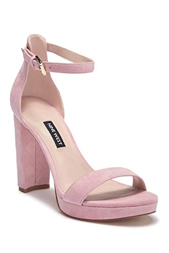 (Nine West Womens Dempsy Leather Open Toe Casual Ankle, Light Pink, Size 8.0)