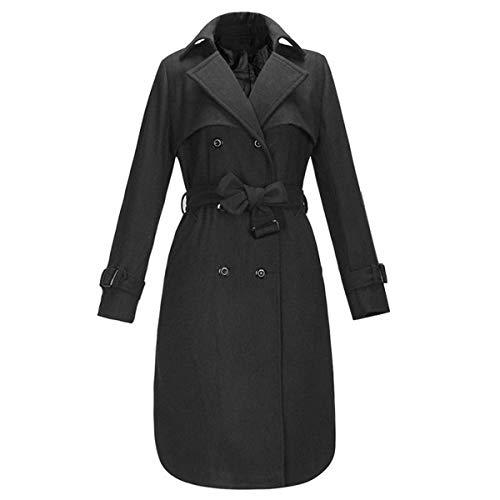 Solide Vent Size Color Double paissir XXL Manteau l'hiver Laine Coupe Boutonnage Goyfeelip en Lacets Black x0EgwqaOW