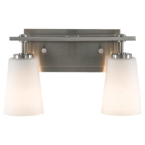 Feiss VS14902-BS Sunset Drive Glass Wall Vanity Bath Lighting, Satin Nickel, 2-Light (14