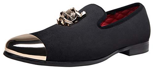 Pictures of JOUSEN Men's Velvet Loafers Gold Buckle velvet men loafer slip on 1
