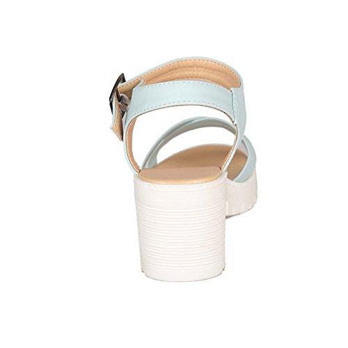 Amoonyfashion Solido Tacco Gonnellino Da Donna Fibbia Open Toe Platform-sandali Blu