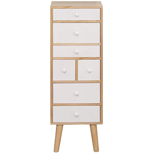 EXQUI Wooden Chest of Drawers Cabinet of Drawers Storage Side Cabinet with 7 Drawers for Bedroom Hallway and Livingroom Gloss Sturdy and Elegant, 35x25x106cm, GLZ-004