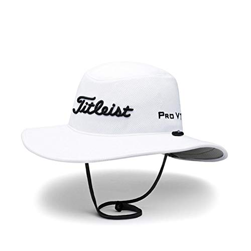 Titleist Men and Women's Golf Caps (Tour Aussie, White/Black(Asia Limited), Adjustable)
