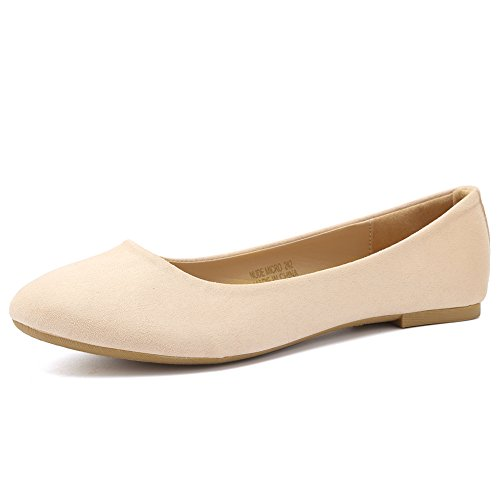 CIOR Women Ballet Flats Classy Simple Casual Slip-on Comfort Walking Shoes from Merence,NudeMicro,234,5.5M