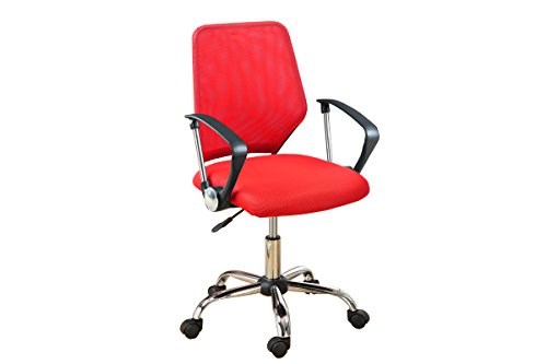 """Poundex Mesh Back Gaslift Office Chair, 41"""", Red/Burgundy"""