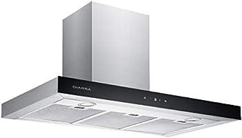 CIARRA Cappa aspirante 550 m3/h Aria di scarico/ricircolo 3 gradini Max. Acciaio inox LED Display LCD argento
