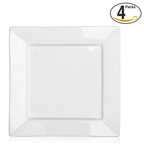 DOWAN 10 Inch Porcelain Square Dinner Plates - 4 Packs, White