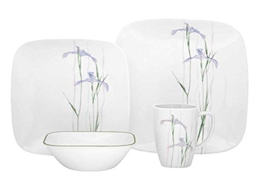 Corelle Square 16-Piece Dinnerware Set, Shadow Iris, Service for - Trends New In Glasses