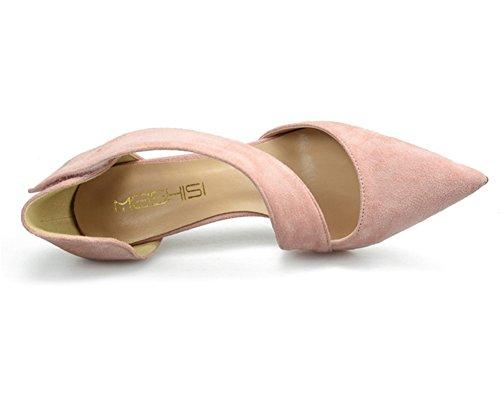 Zapatillas Dedo ZPL Correa pink Sandalias Corte Vestir Alto del Zapatos Boda Tacón Puntiagudo Tobillo Mujer pie Estilete Fiesta 4fwxwqB5