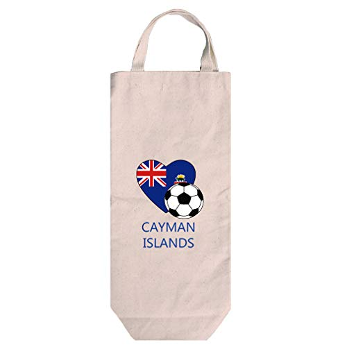 (Love Soccer Cayman Islands Style 2 Cotton Canvas Wine Bag Tote With Handles)
