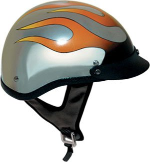 DOT Chrome Motorcycle Half Helmet With Flames (Size XS, X-Small) (Helmet Silver Half Flame)
