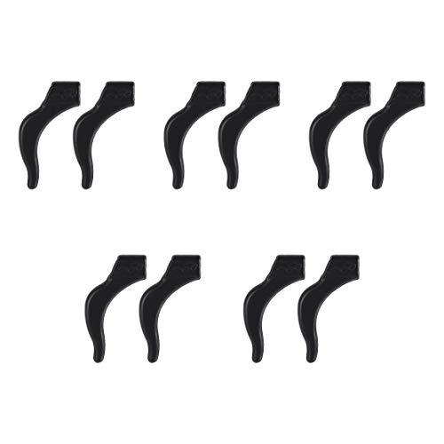 Avikoit Ear Grip Ear Hooks for Glasses, Anti - Slip Hook Soft Silicone Temple Holder Glass Eyewear Comfortable Tips Sleeve Retainer for Eyeglass Sunglass, 5 Pairs(Black)