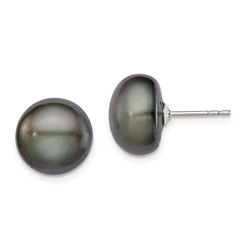 - Sterling Silver 11-12mm Black Freshwater Cultured Pearl Stud Earrings 11x11 mm
