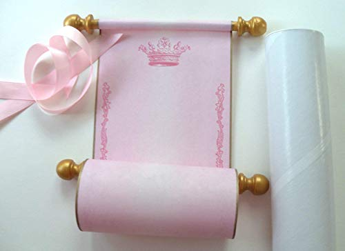 Pink princess crown parchment paper scroll with gold wooden finials and mailing tube, 5