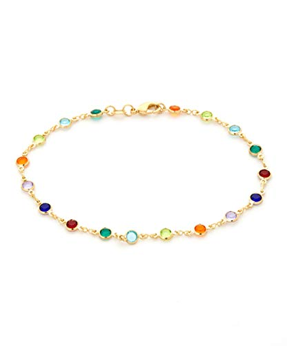 Barzel 18K Gold Plated Gold and Multi Color Crystal Baguette Anklet (Multicolor Dark Round)