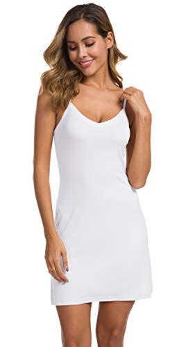 (AUHEGN Women's Sexy Spaghetti Strap Tank Dress V-Neck Bodycon Club Party Mini Dress(White, X-Large))